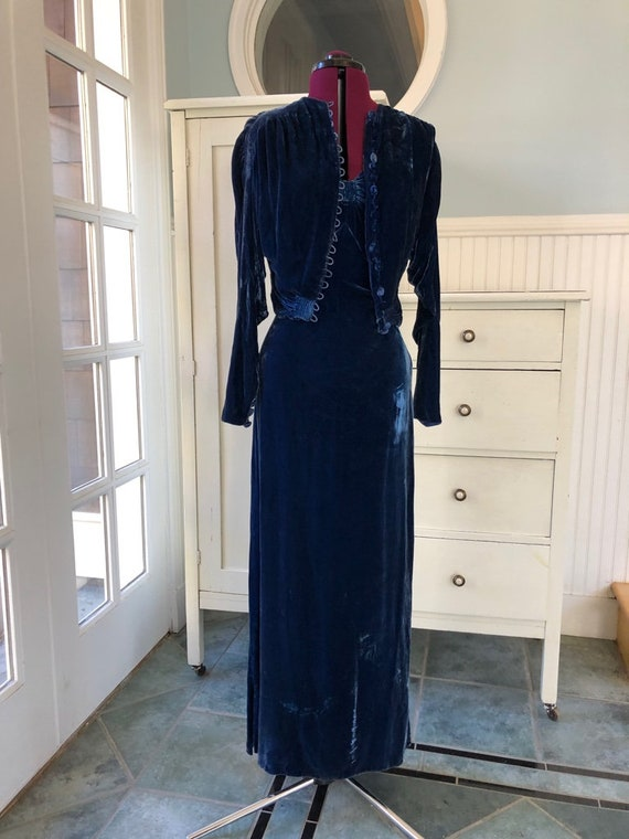 Vintage 1930s 30s Glamour Dress Sapphire Blue Vel… - image 2