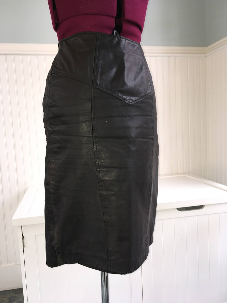 d9fe6f04cb54 1980s Black Leather Skirt high waist pencil skirt rocker new | Etsy