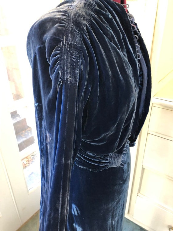 Vintage 1930s 30s Glamour Dress Sapphire Blue Vel… - image 7
