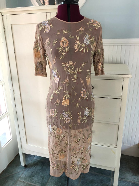 1990s 90s Sheer Embroidered Mesh Body Con Floral W