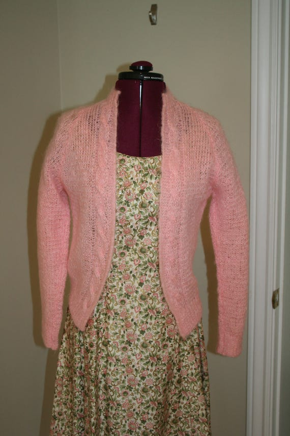 50s 1950s pink hand knit mohair sweater - image 1