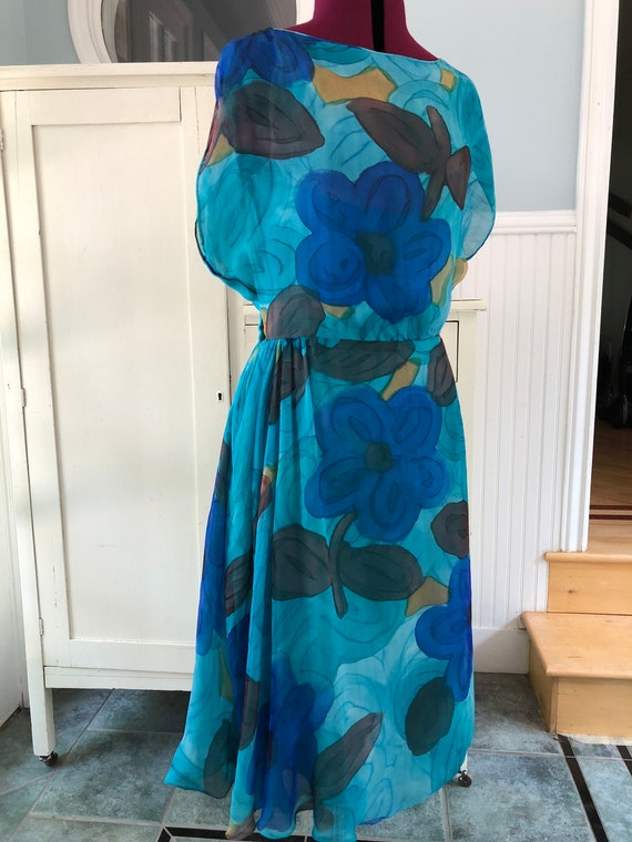 painted floral silk dress . mid century garden par