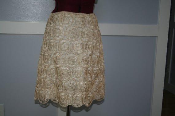 Beautiful Raffia Lace Skirt Cream XS S  1960s 60s