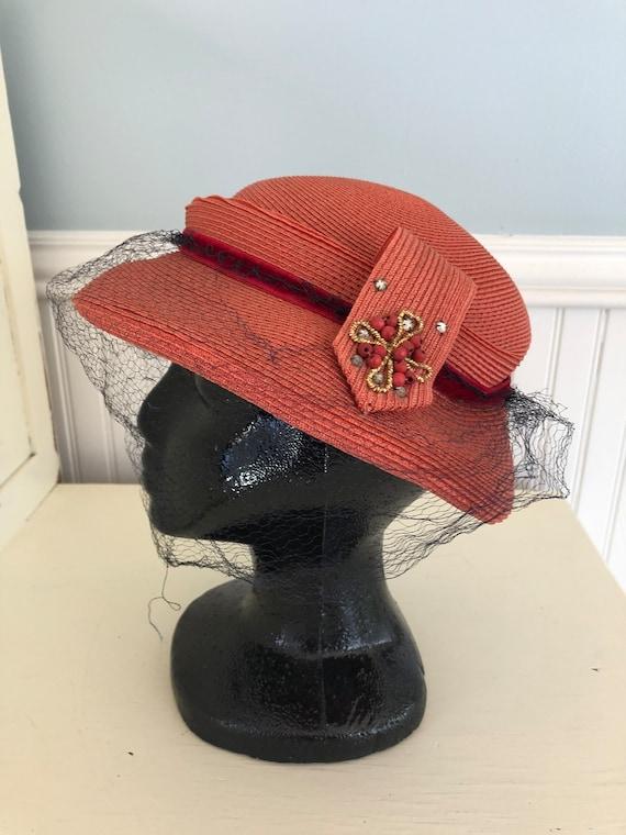 1940s 40s Hollywood Netted Tilt Cocktail Hat Fasci