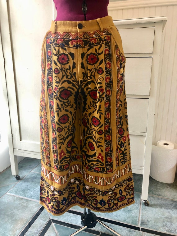 Honey Mustard Embroidered Wide Leg Pants Coulottes