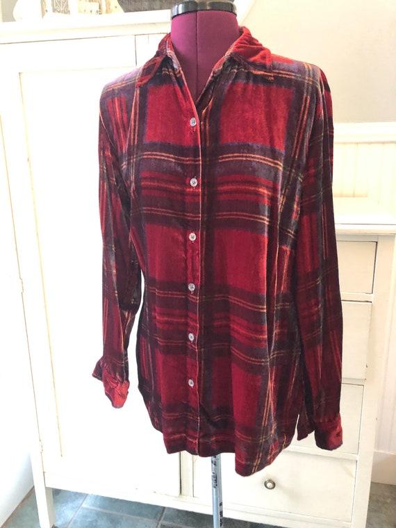 Vintage 90s Red Velvet Plaid Print Button Up Shirt