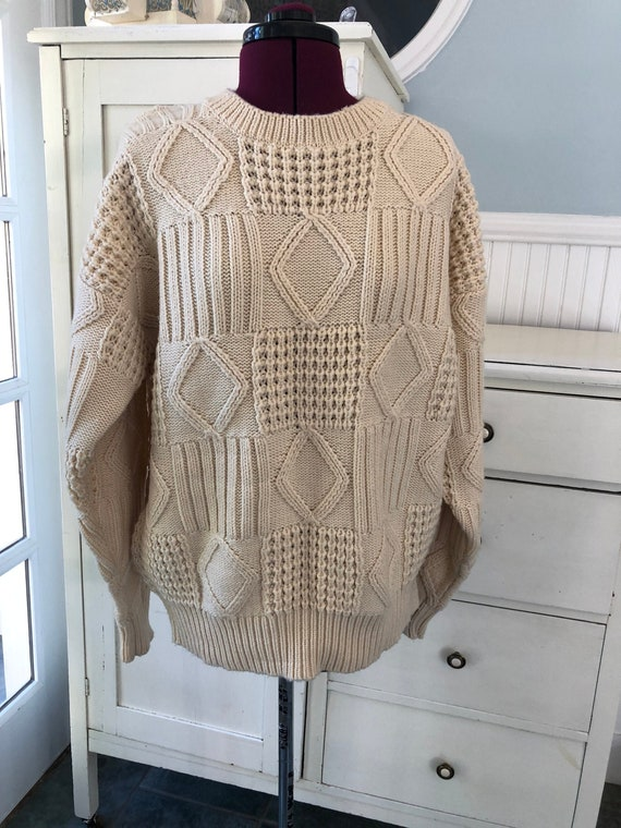 Vintage Cream Sweater | Patchwork Acrylic Jumper |