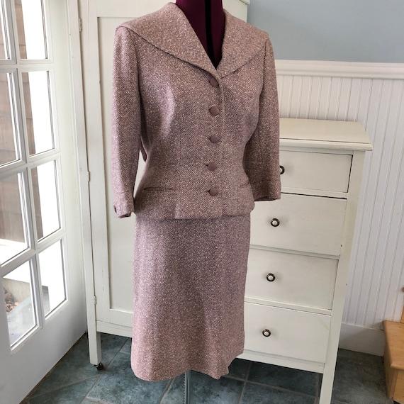 Pink Mauve Herringbone Tweed suit vintage 1950s su