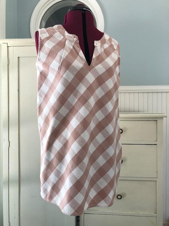 Vintage Pink Dress/Gingham Dress/Dusty pink/Pastel