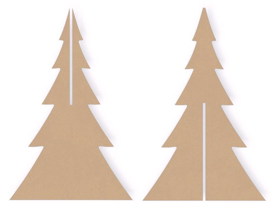12 Interlocking Standing Wooden Christmas Tree Cutout
