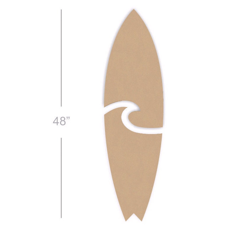 48 Inch Wooden Surfboard Wall Art Two Pieces Mdf Wood Surfboard Cutout Shape Surf Art Ready To Paint