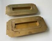 Vintage Pair Brass Inset Pulls, Furniture Cabinet Drawer Pulls Vintage Hardware