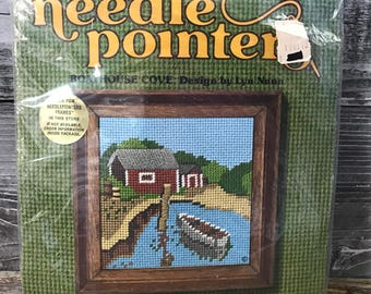 Vintage Needle Pointers Kit Boathouse Cove No. 5806 Sunset Designs Lyn Nunn Needlepoint 1975 Picture Wall Hanging NIP