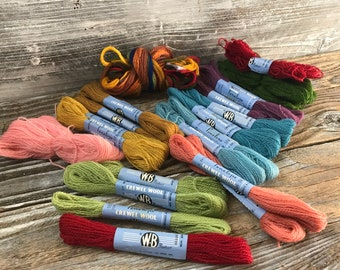 17+ Penelope Wool Crewel Yarn Skeins Plus 6 Skeins Bundle WM Briggs & Co. Made in Britain