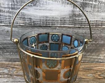 Vintage Turquoise Blue Gold Starburst Snowflake Ice Bucket & Caddy Geometric Pattern Mid Century Modern Bar Cart