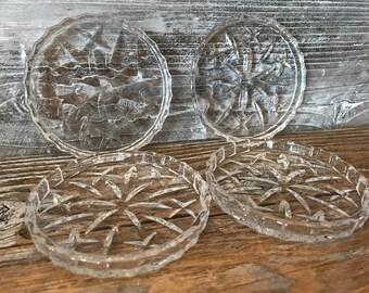 4 Beautiful Vintage Crystal Glass Starburst/Sunburst Glass Coasters
