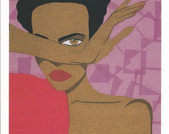 Note Card-Lady in Red