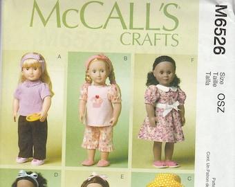 "18"" Doll Pattern, Modern Young American Girl Doll Pattern, McCalls No. M6526  Uncut"