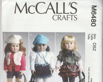 """Sporty Wardrobe Patterns for 18"""" Doll clothes, Young American Girl Doll Patterns, McCalls No. M6480, Factory Folded  Uncut"""