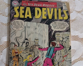 """Sea Devils - Vintage DC Comic Book Number 19, October 1964 - Collectible Comic - Book Length Story """"The Sea Devil Robots!"""""""