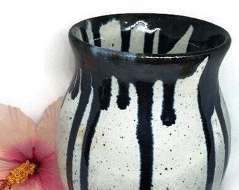 Ceramic Vase 6  Inches Tall - Shiny White and Black Hand Thrown Pottery - For Fresh or Dried Flowers - Handmade Gift for Her