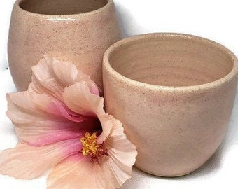 Two Handmade Ceramic Little Cups - Thrown Pottery - Ceramic Tea Cups or Stemless Wine Glasses - Set of Two