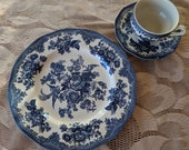 Asiatic Pheasant Dinner Plate, Tea Cup and Saucer by Johnson Bros. of England, Blue and White Dinnerware