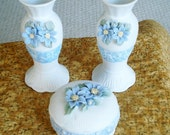 Dresser Set - Collezione Galileo vintage Hand Painted Porcelain Candle Holders and Trinket Box