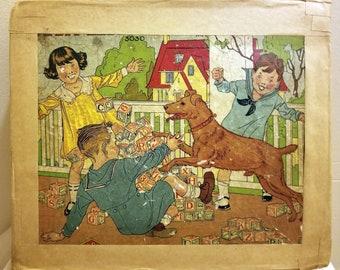Antique Wooden Blocks in Original Box, Alphabet, Numbers, Pictures, 30 Square Wooden Blocks for Children's Play, Memorabilia