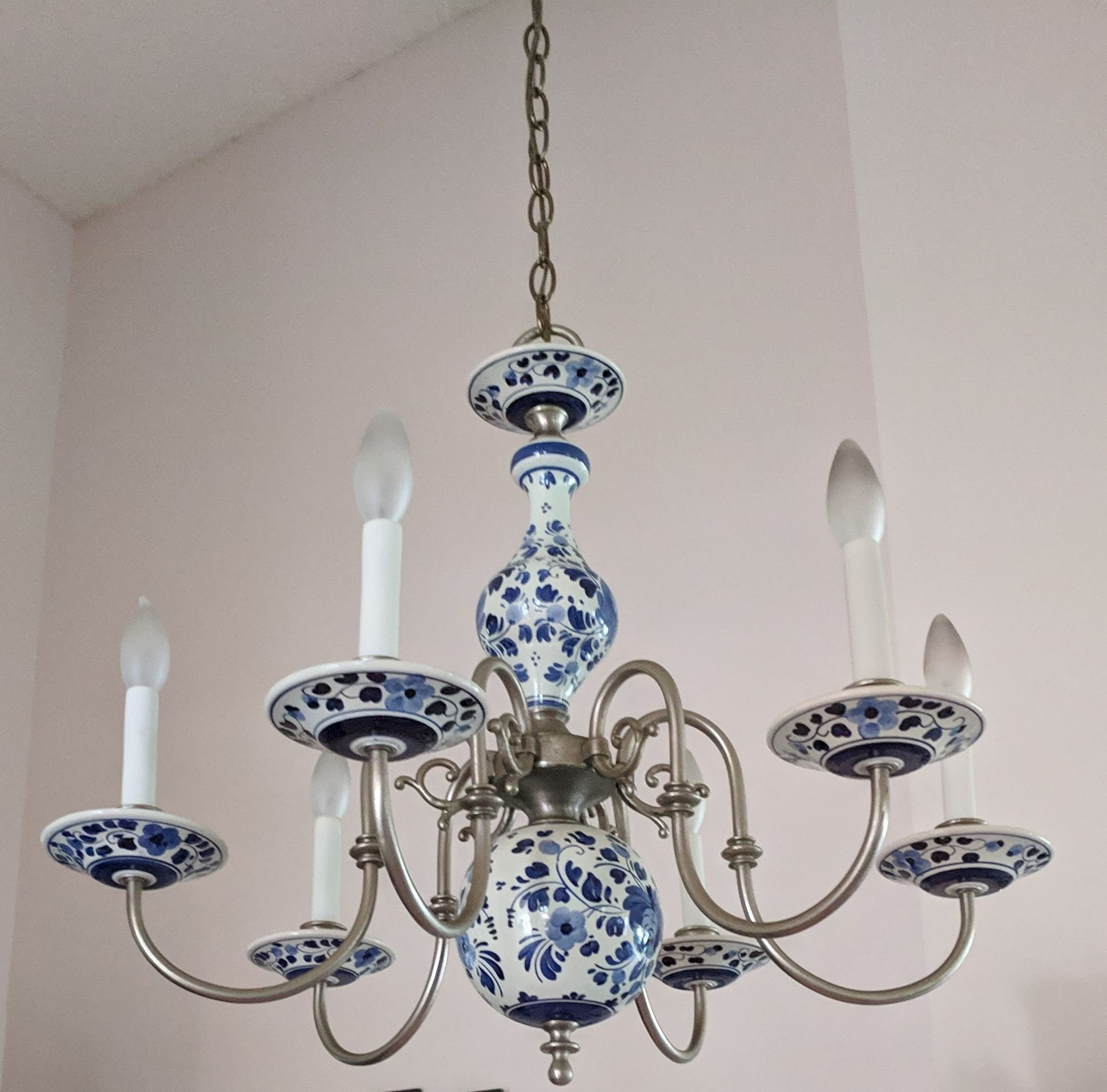 Delftware Six Arm Chandelier, Blue and White, Brushed Stainless Arms, Ceiling Plate and Long Chain