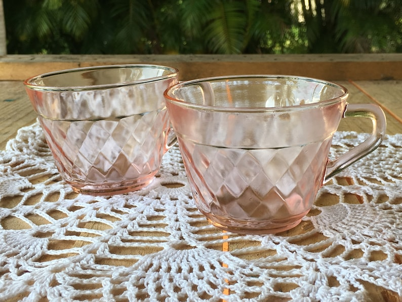 Vintage Collectible Depression Glass RosePink Cups Set of Two Diamond Pattern Pink Depression Glass