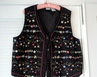 Ladies Size L (12-14) Cotton Embroidered Vest - Feels Like Velvet - Bobbie Brooks - Black Four Button Sleeveless Vest - Christmas Vest