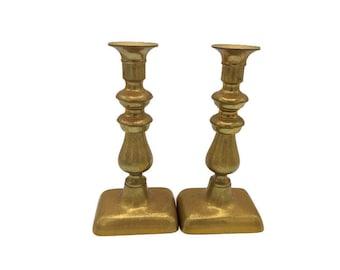 "Vintage Brass Candlesticks - Pair of Heavy Brass Candle Holders - Decorative Brass Candle Holders - 8"" Tall Candlesticks Collectible Brass"