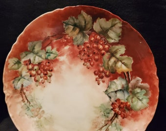 """Antique Porcelain Cabinet Plate made by Haviland France, Dated """"September 1906"""".  Beautifully Decorated Plate Red Berries and Grape Leaves"""