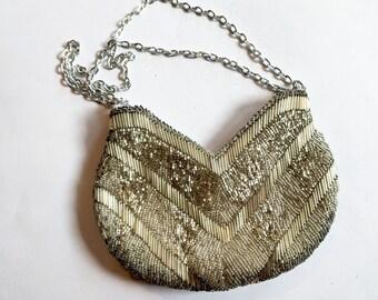 Silver Beaded Evening Purse - Walborg Beaded Bag - Hand Beaded Antique Bag - Unique Evening Bag - Small Hand Bag