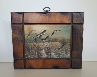 Hand Carved Wood Frame - Mallard Ducks in Flight Over Cornfield - Picture Shellacked on Wood - Vintage Wall Hanging Decor