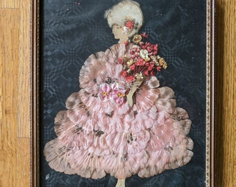 Framed Paper Doll Art - Silk Petals and Flowers - Ladies' Boudoir Art - 1920s Antique Framed Decorated Paper Doll