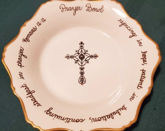 Prayer Bowl, Christian Gift, Porcelain Bowl with Crystals and Prayer Cards, Vintage Collectible