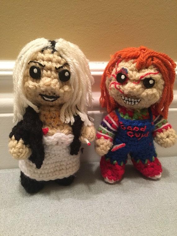 ooak crochet chucky and tiffany dolls etsy