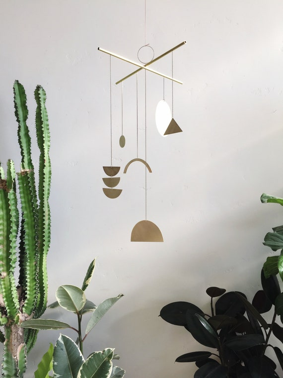"Geometric Brass Mobile - ""Solas"" - made-to-order - 3 week turnaround time"