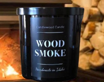 WOOD SMOKE - Crackling Wood Fire Natural Soy Wax Candle in Black Jar with Lid 12 oz