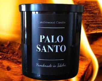 PALO SANTO - Crackling Wood Fire Natural Soy Wax Candle in Black Jar with Lid 12 oz