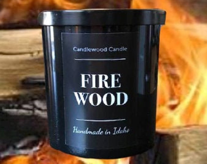 Featured listing image: FIREWOOD - Crackling Wood Burning Fireplace Soy Wax Candle  - Best Seller Since 2012 - Simply like no others..12 oz
