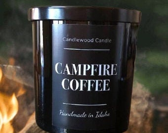 CAMPFIRE COFFEE -  Crackling Wood Fire Natural Soy Wax Candle in Black Jar with Lid 12 oz