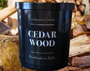 CEDAR WOOD - Crackling Wood Fire Natural Soy Wax Candle in Black Jar with Lid 12 oz
