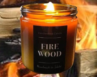 FIREWOOD - Crackling Wood Burning Fireplace Soy Wax Candle in a Amber Jar with black lid - Large  16 oz