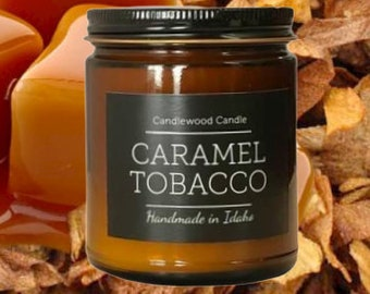 CARAMEL TOBACCO - Crackling Wood Fire Natural Soy Wax Candle in Amber Jar with Black Lid