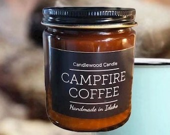 CAMPFIRE COFFEE -  Crackling Wood Fire - Natural Soy Wax Candle in Amber Jar with Black Lid