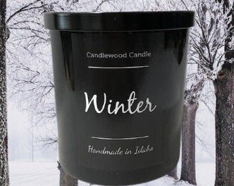 WINTER - Crackling Wood Fire Soy Wax Candle in Black Tumbler with Lid - 12 oz.