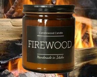FIREWOOD - Crackling Wood Burning Fireplace Soy Wax Candle  - Best Seller Since 2012 - Simply like no others..